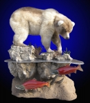 Brown Bear Lifesize Mount with Sockeye Salmon