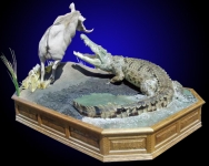 Crocodile Attacking Warthog on Waterhole base with Raised Panel, Oak Base