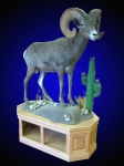 Desert Bighorn Sheep Lifesize Mount on Oak Cabinet with Desert Habitat