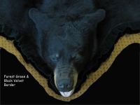 Black Bear Rug, with forest green and black velvet border, open mouth