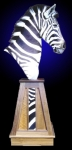Zebra Pedestal Mount on Finished Walnut Pyramid Base with inlays.