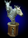 Zebra, Double Pedestal Mount on Finished Walnut Octagon with Burl Top and Backskin inlays.